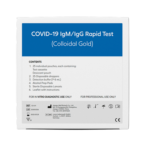 Image of   COVID-19 IgM/IgG Hurtig Antistof Test (Colloidal Gold)